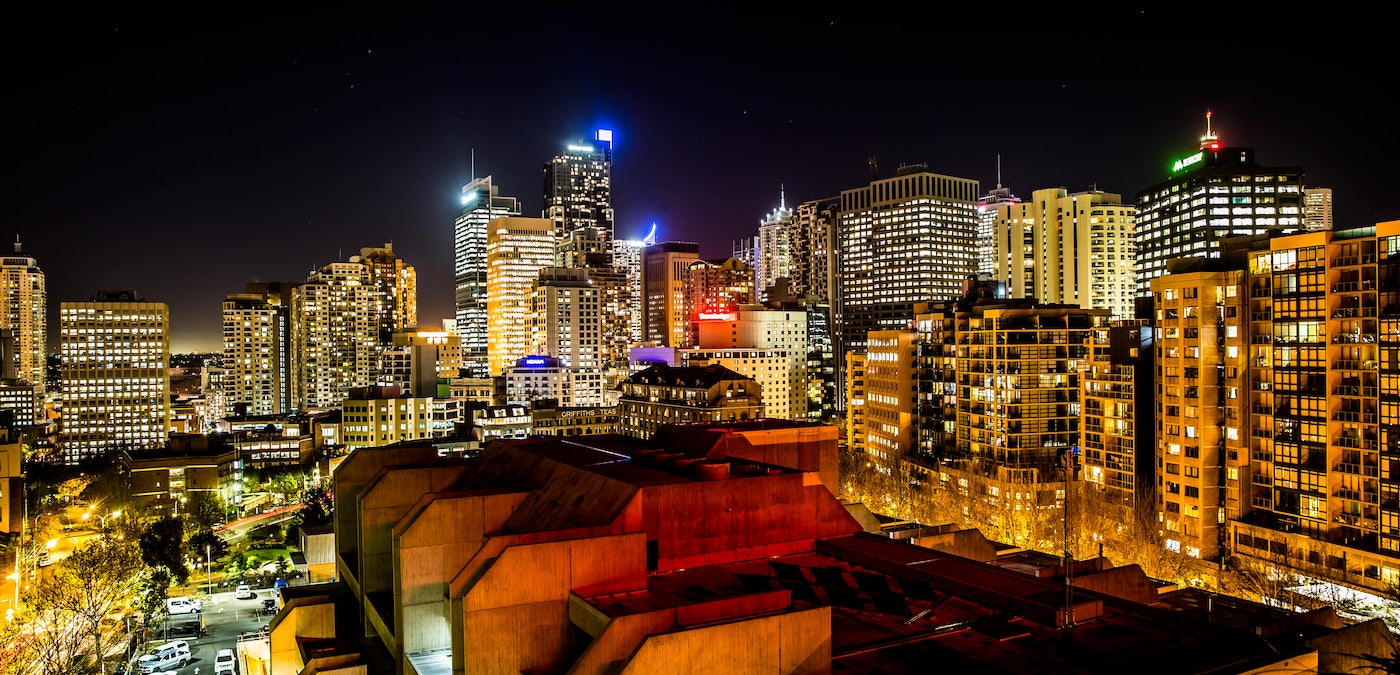 A picture of Sydney skyline from Cambridge Hotel in Surry Hills