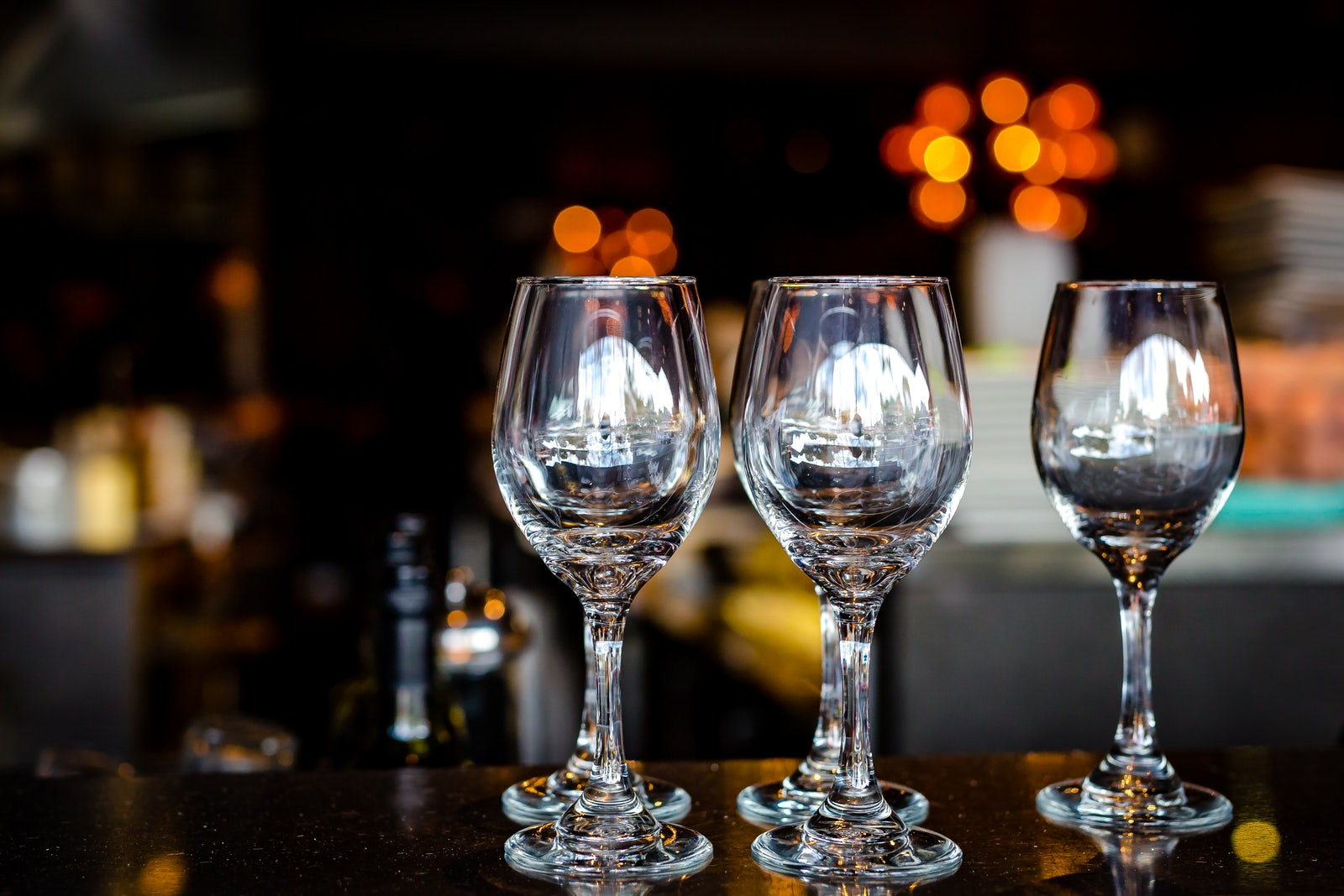 A picture of wine glasses from Cambridge Hotels restaurant in Surry Hills