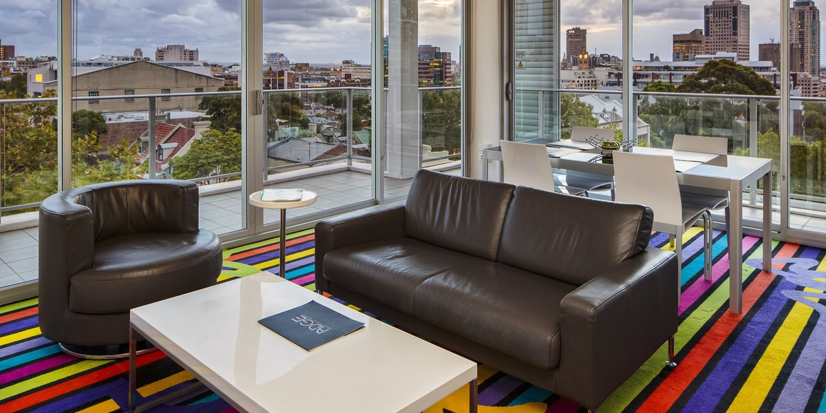 A image of a two bedroom apartment with city views in Adge Hotel in Surry Hills Sydney