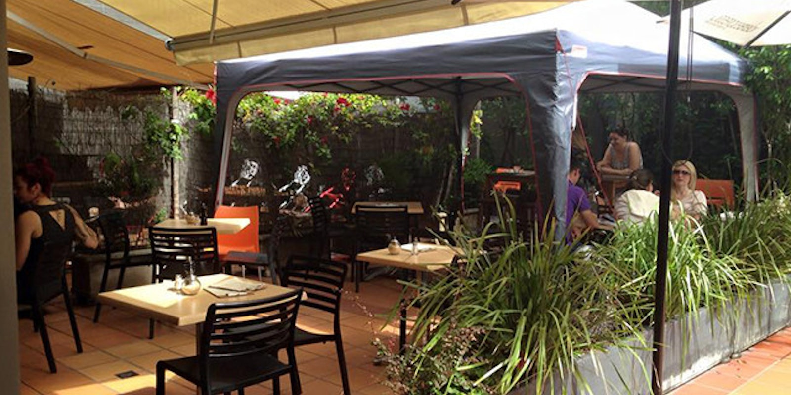A picture of the outdoor patio at Buster Brown French Cafe and Bristro in Surry Hills Sydney
