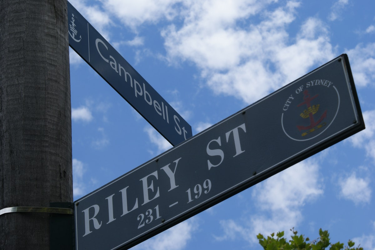 A sign for Riley Street near Cambridge Hotel