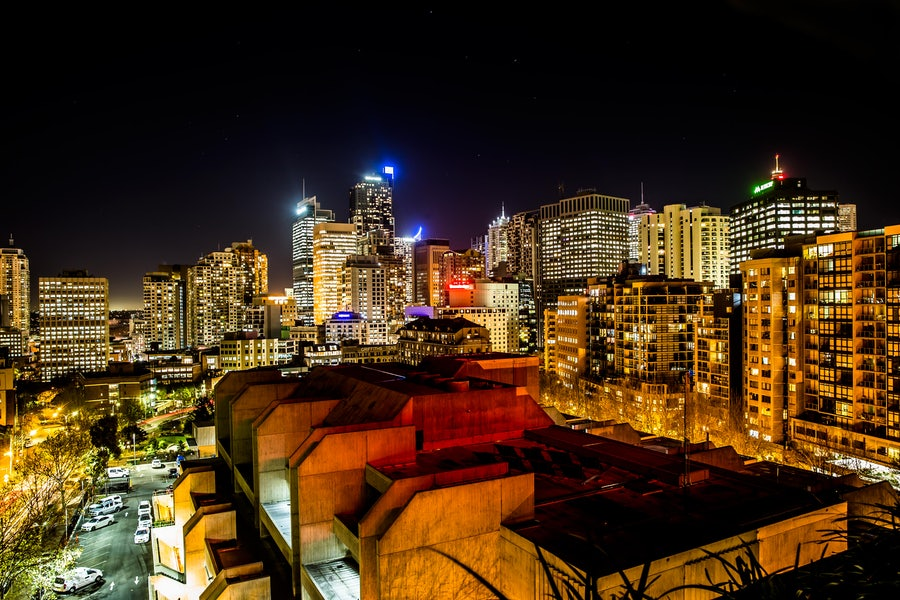 A picture of the city skyline in Sydney from Cambridge Hotel in Surry Hills