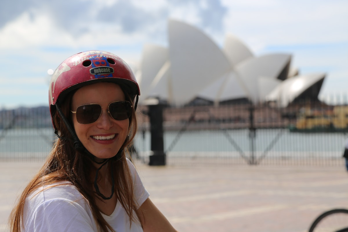 A picture of a girl riding a bike on the Bonza Bike Tour which tours around Sydney