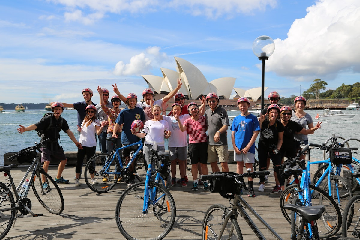A photo of a bike tour group that just completed the sightseeing tour around Surry Hills and Sydney